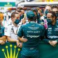 Sebastian Vettel and Aston Martin celebrate after the Hungarian Grand Prix. August, 2021.