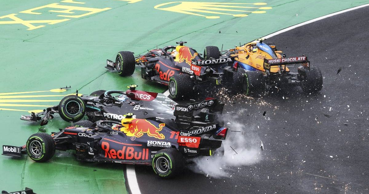Valtteri Bottas causes a melee at the first corner of the Hungarian GP. Hungaroring August 2021..