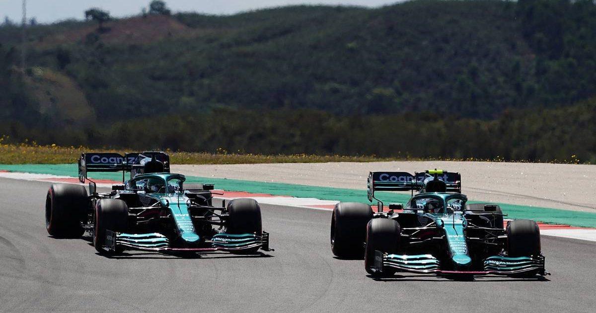 Sebastian Vettel overtakes Lance Stroll during the Portuguese GP. Portimao May 2021.