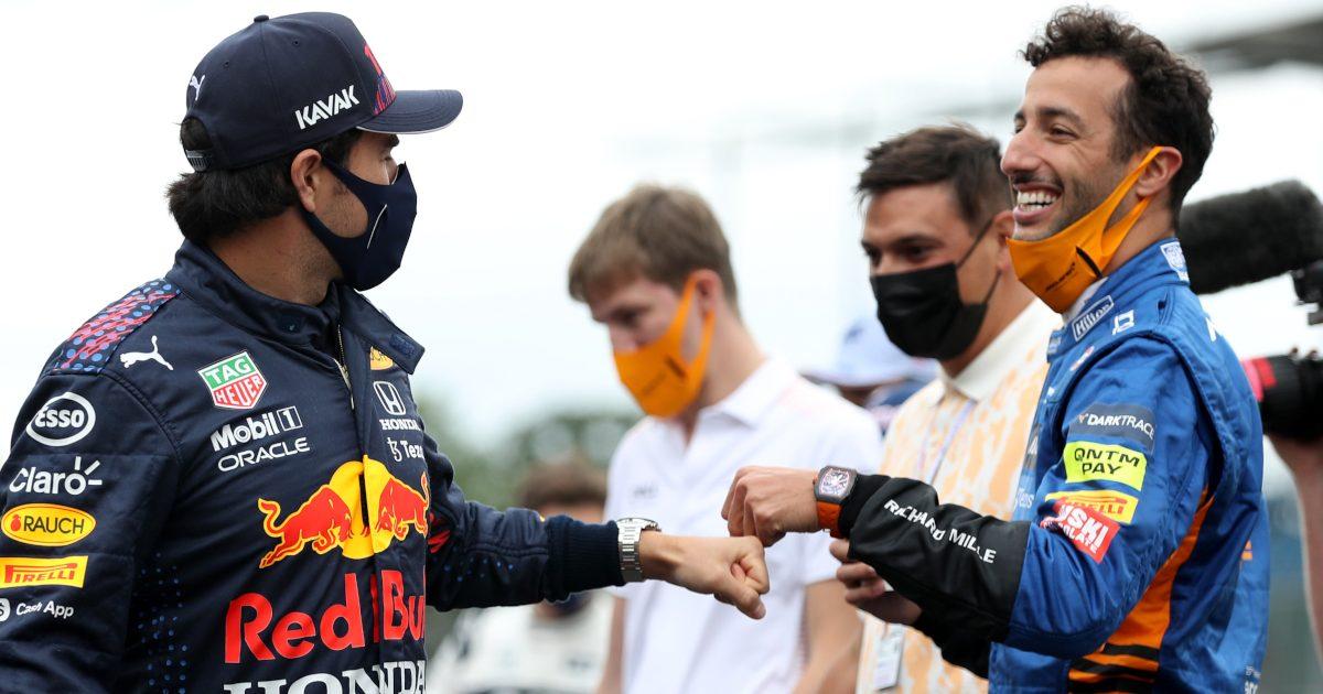 Sergio Perez greets Daniel Ricciardo. Britain July 2021
