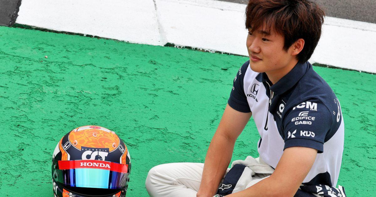 Yuki Tsunoda sitting on the track. Britain July 2021