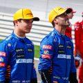Lando Norris and Daniel Ricciardo during the photoshoot at pre-season testing. Bahrain March 2021.