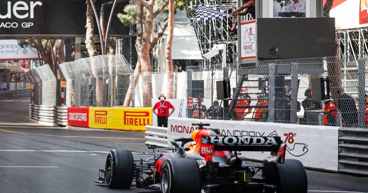 Max Verstappen wins the Monaco Grand Prix for Red Bull. Monte Carlo May 2021.