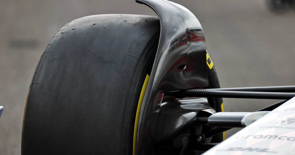 Flow detector on front wheel of 2022 prototype F1 car. Silverstone July 2021.