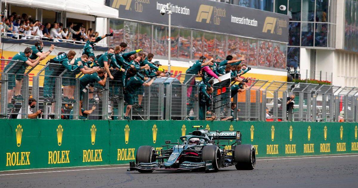 Sebastian Vettel is cheered across the line as he crosses the line second in the Hungarian GP. Hungaroring August 2021.
