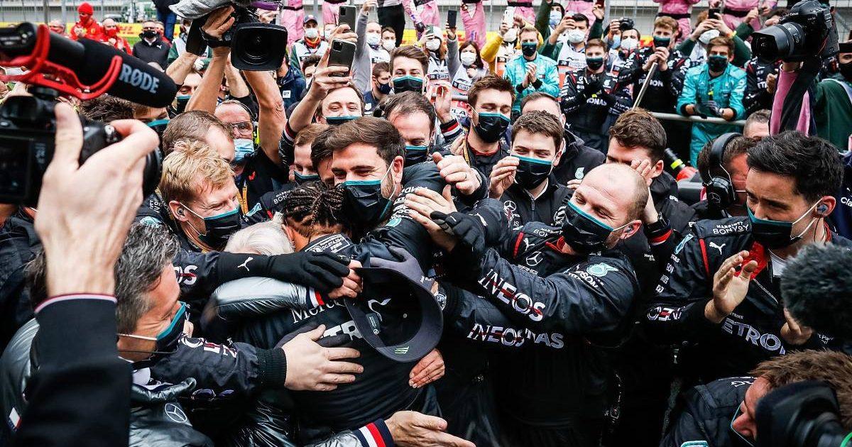 Lewis Hamilton and the Mercedes crew celebrate at the Turkish Grand Prix. November, 2020.