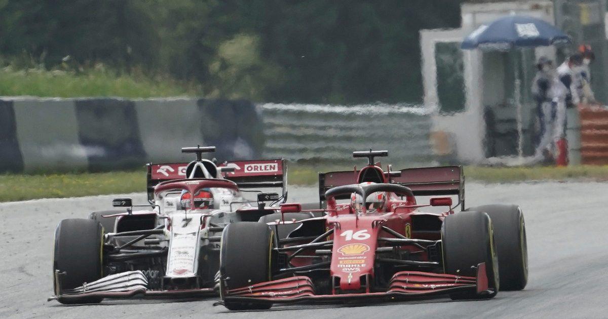 Charles Leclerc [Ferrari] clips Kimi Raikkonen [Alfa Romeo] at the Styrian Grand Prix. June 2021.