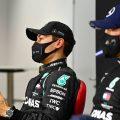 George Russell at a Sakhir GP press conference next to Valtteri Bottas. Bahrain December 2020.