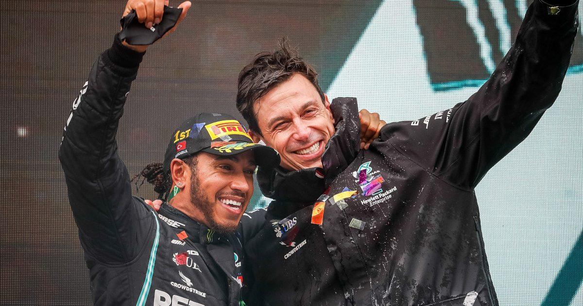 Lewis Hamilton and Toto Wolff celebrate his Turkish Grand Prix win. Turkey November 2020d Toto Wolff celebrate his Turkish Grand Prix win. Turkey November 2020