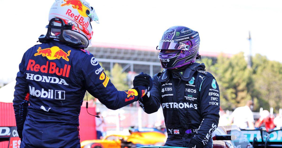 Max Verstappen hand shake Lewis Hamilton. Spain May 2021