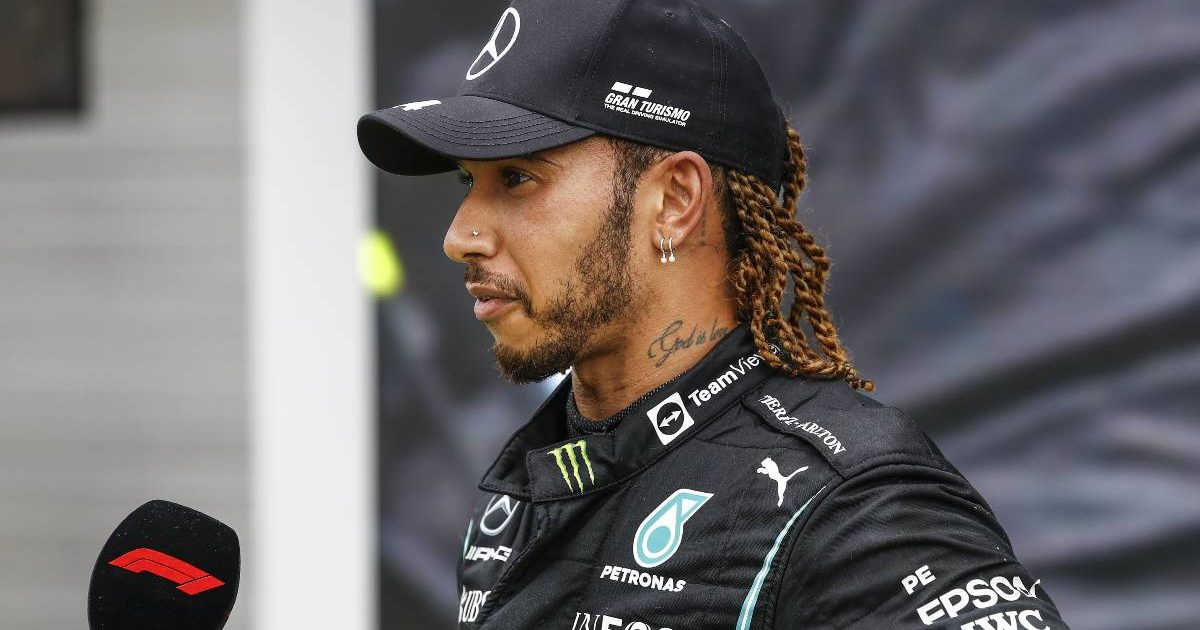 Lewis Hamilton interviewed after the Hungarian GP. Hungaroring August 2021.