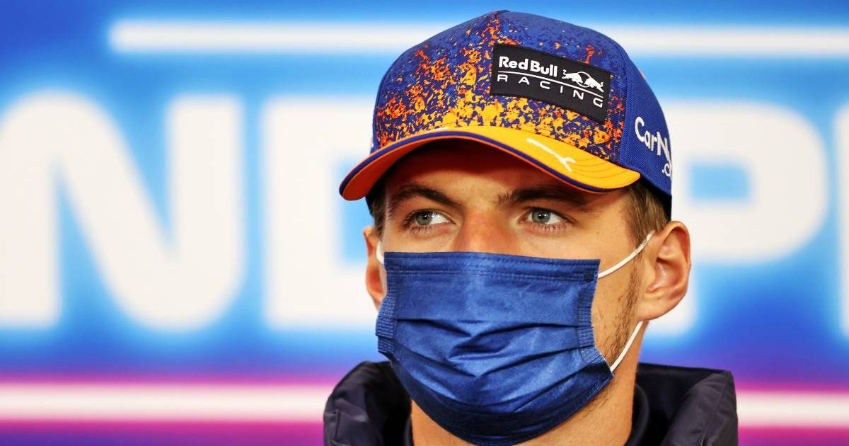 Max Verstappen during Belgian GP press conference. Spa-Francorchamps August 2021.