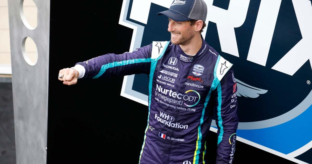 Romain Grosjean on the podium in IndyCar. May 2021.