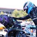 Valtteri Bottas congratulates Lewis Hamilton. Spain May 2021