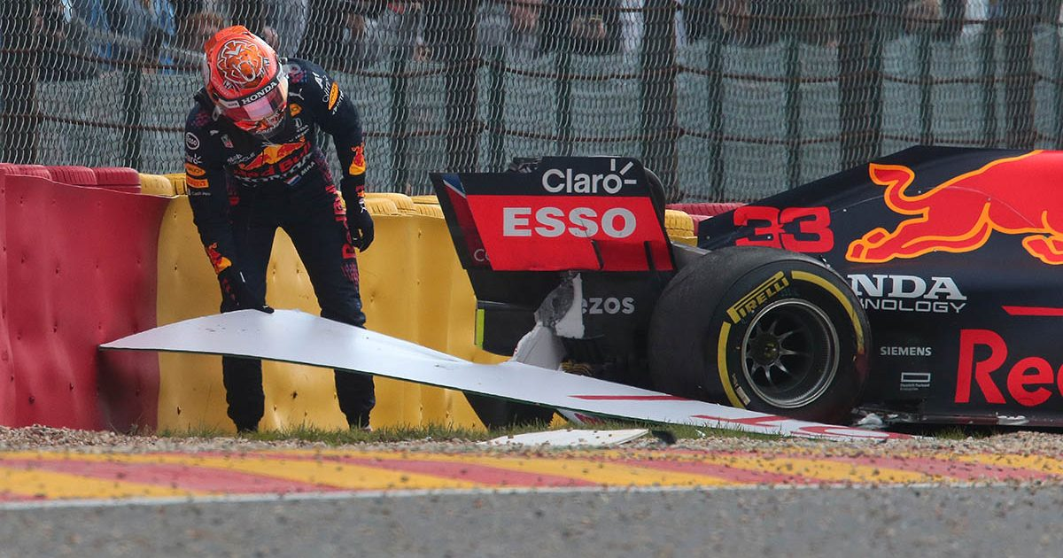 Max Verstappen crashes in Spa FP2 practice. Spa August 2021