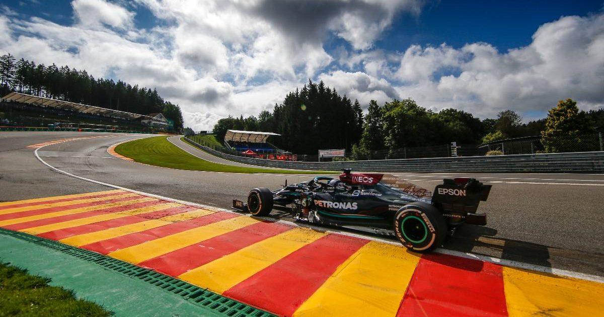 Lewis Hamilton [Mercedes] tackles Eau Rouge. August 2021.