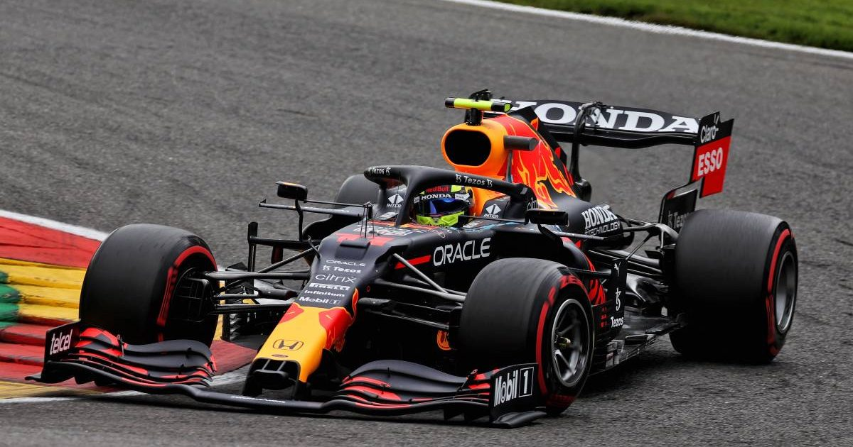 Sergio Perez driving for Red Bull in FP1 at the Belgian GP. August, 2021.
