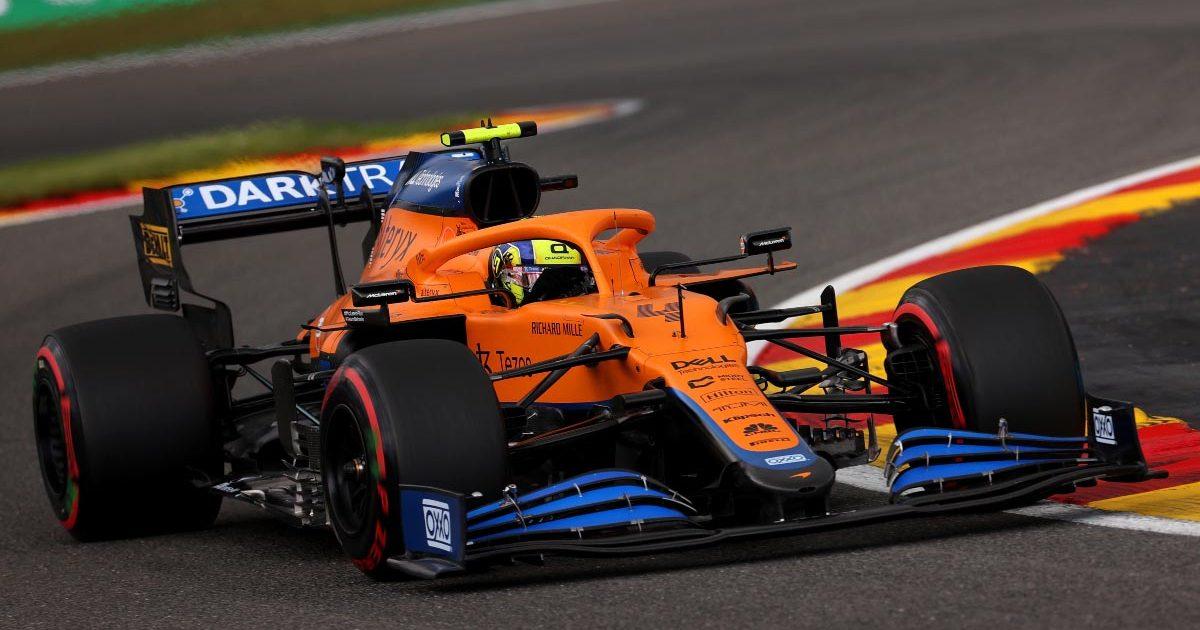 Lando Norris in his McLaren in practice at Spa. August 2021.