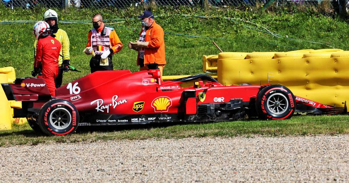Charles Leclerc walks away from his Ferrari after crashing in Belgian GP practice, August, 2021.