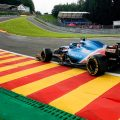 Fernando Alonso drives up Eau Rouge at Spa. August 2021.