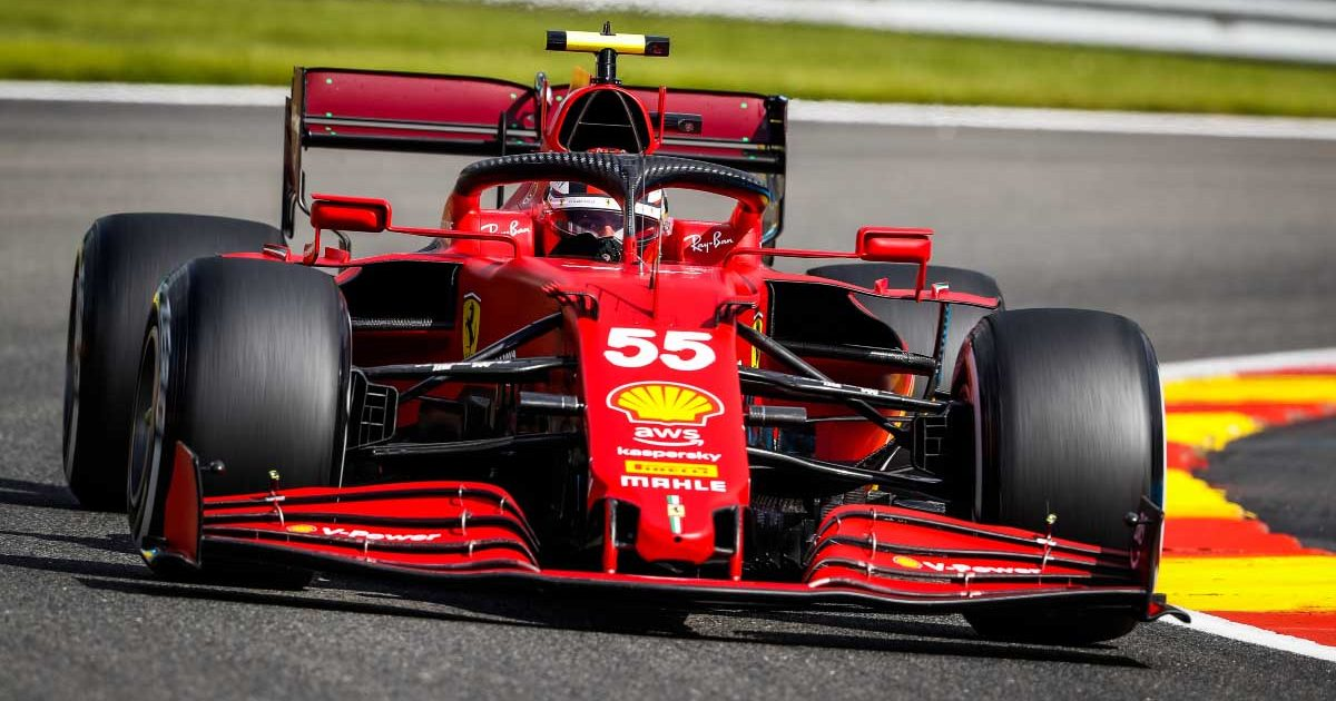Ferrari driver Carlos Sainz practices for the 2021 Belgian GP.