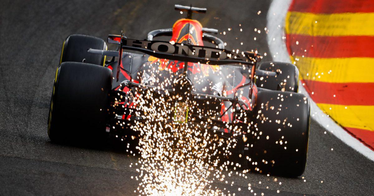 Max Verstappen Red Bull Honda sparks. Belgian August 2021