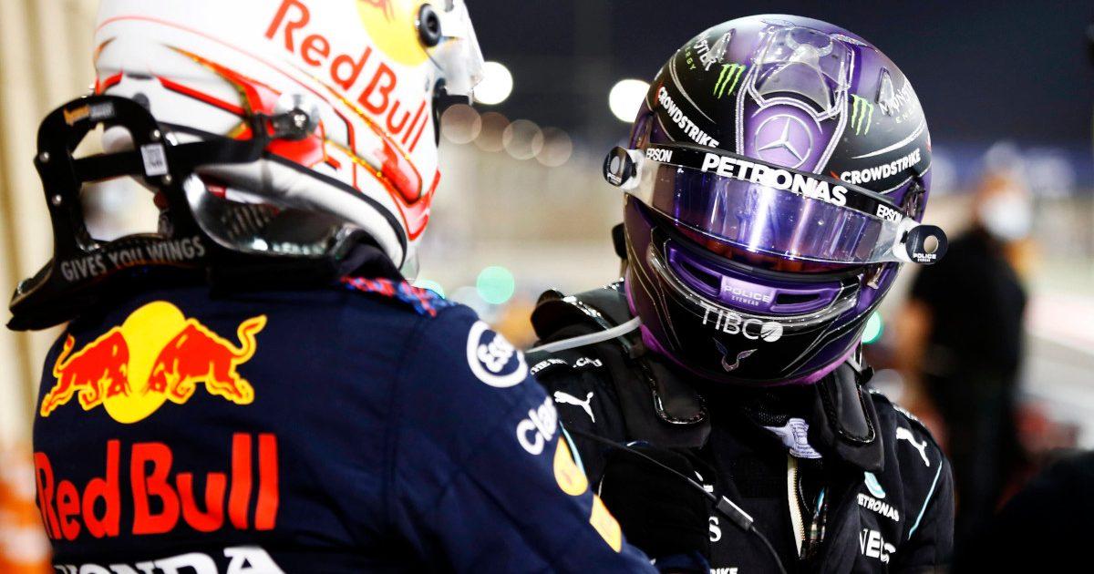 Max Verstappen and Lewis Hamilton parc ferme. Bahrain March 2021