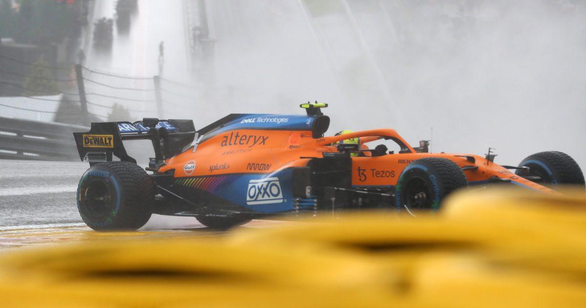 Lando Norris crashes in qualifying for the Belgian GP. Belgium August 2021