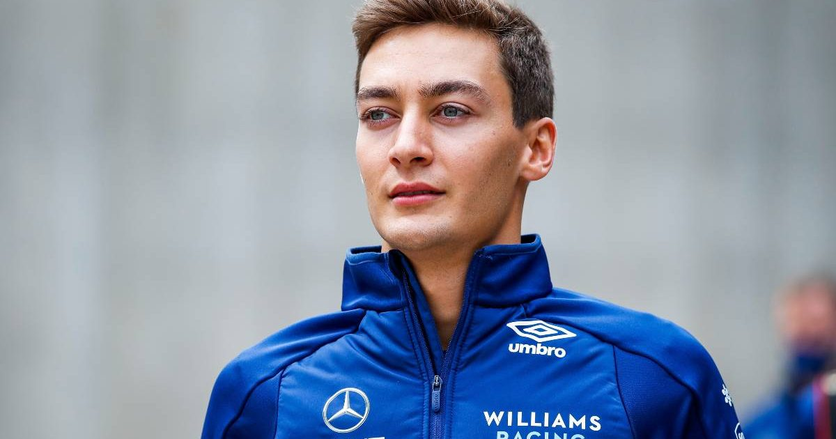 George Russell in Williams jacket at Belgian GP. Spa-Francorchamps August 2021.
