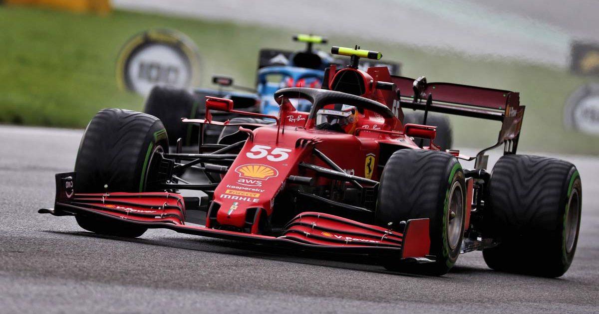 Ferrari driver Carlos Sainz in qualifying at Spa. August 2021.
