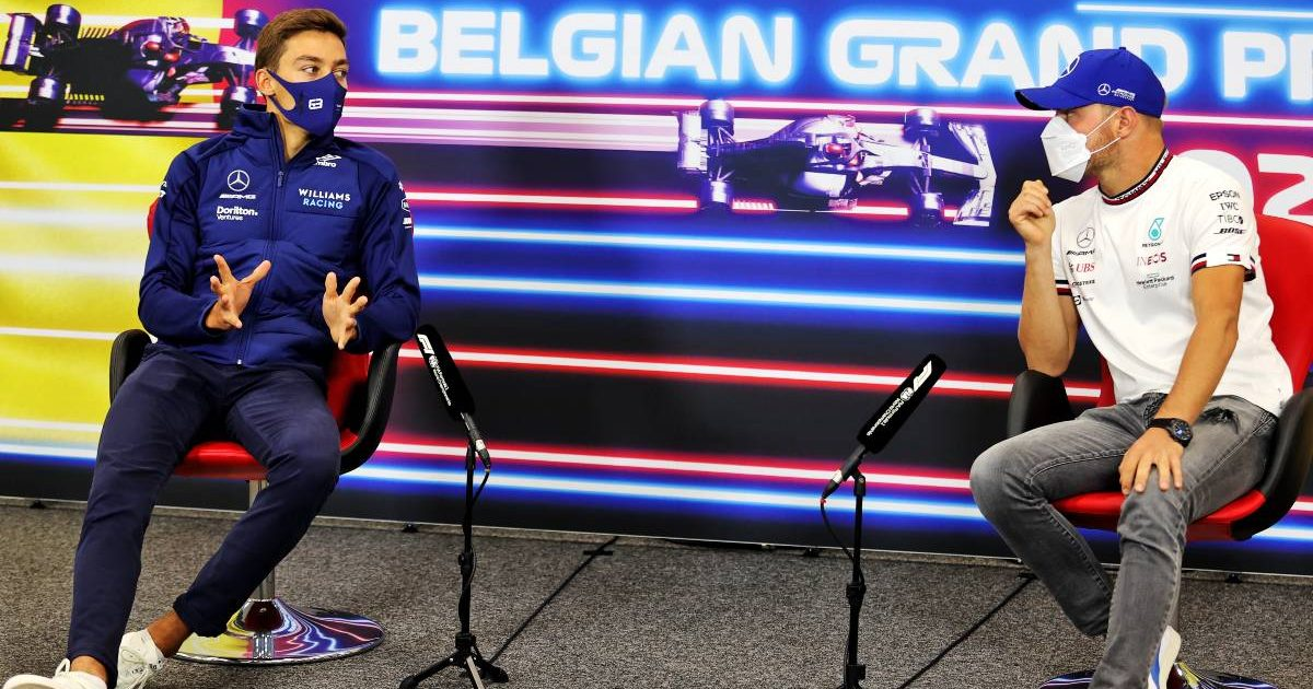 George Russell and Valtteri Bottas at their Belgian GP press conference. Spa-Francorchamps August 2021.