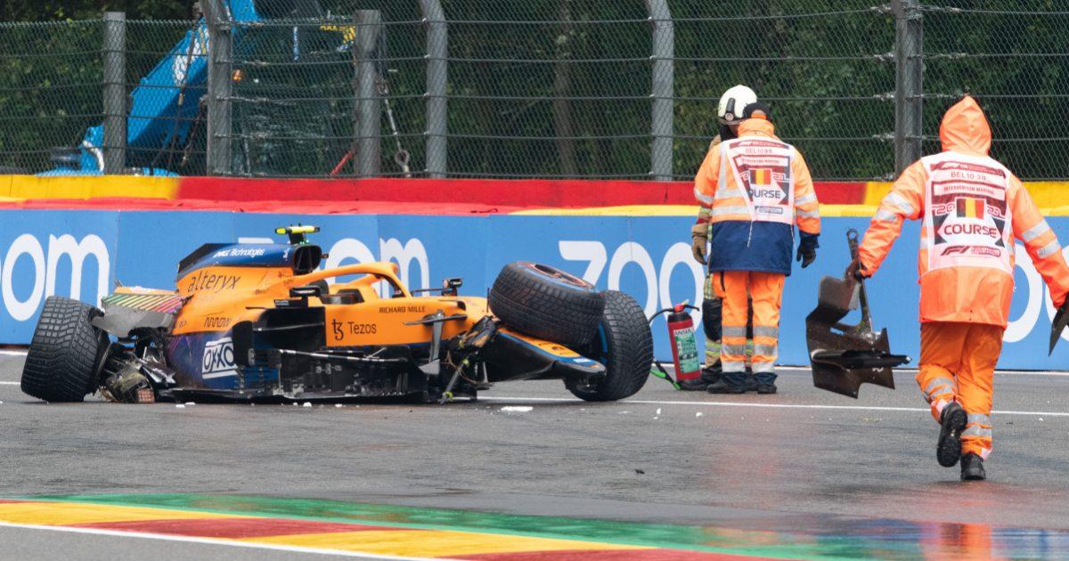 Lando Norris wrecked McLaren Spa qualifying crash. Belgium August 2021