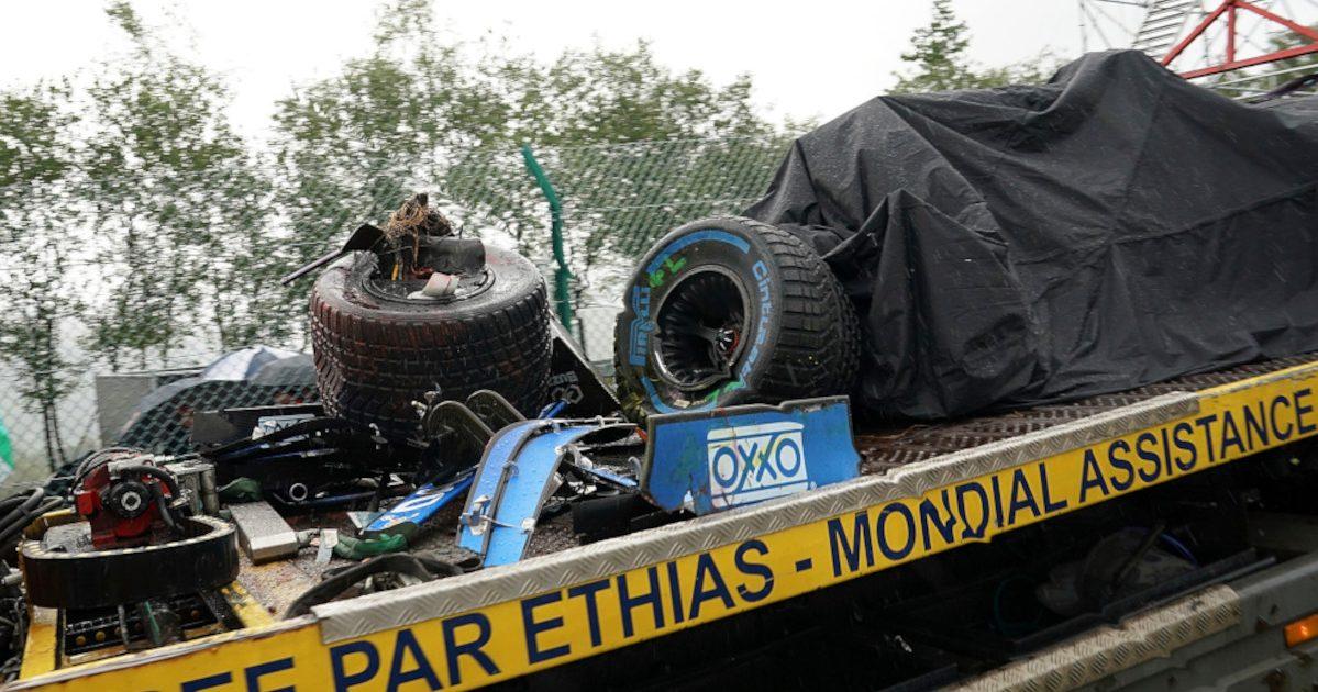 Lando Norris' wrecked McLaren. Belgium August 2021