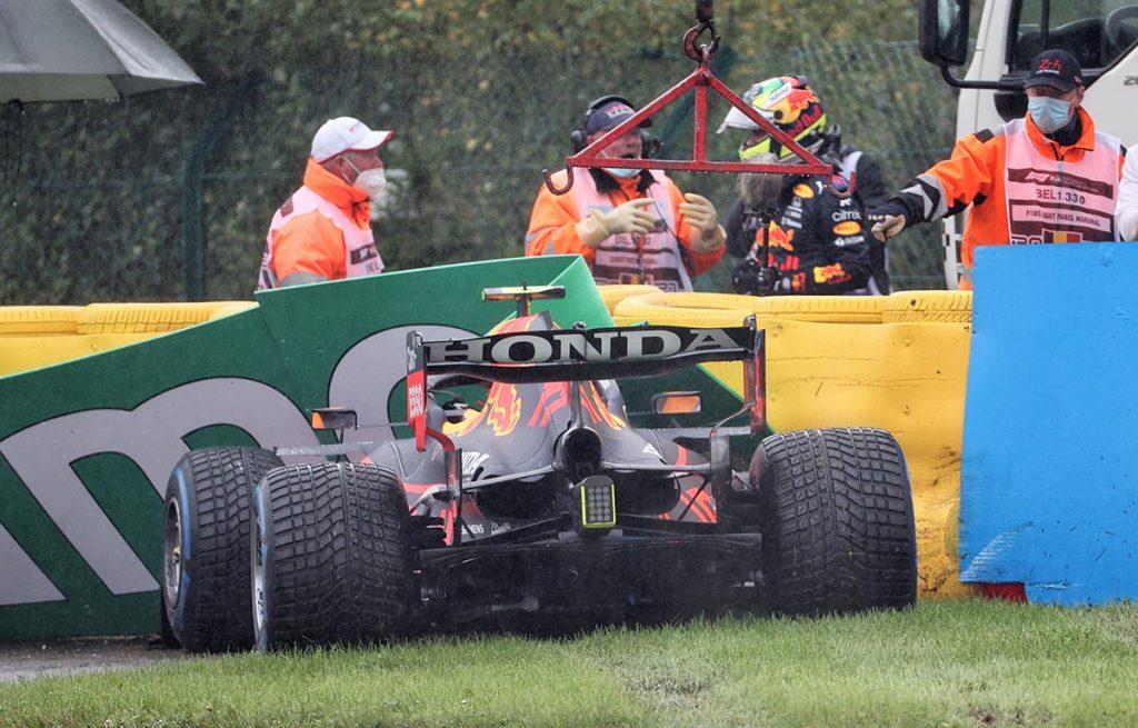 Sergio Perez crashes at Belgian Grand Prix. Spa August 2021