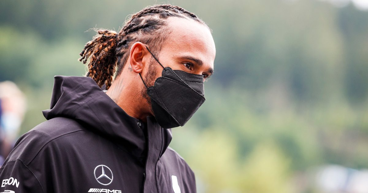 Lewis Hamilton on Saturday at the Belgian GP. August 2021.