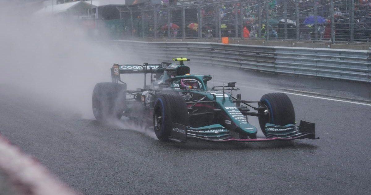Sebastian Vettel drives in the rain at Spa. August 2021.