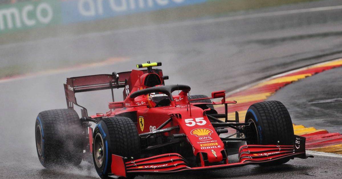Carlos Sainz [Ferrari] in action at a wet Belgium. August 2021.