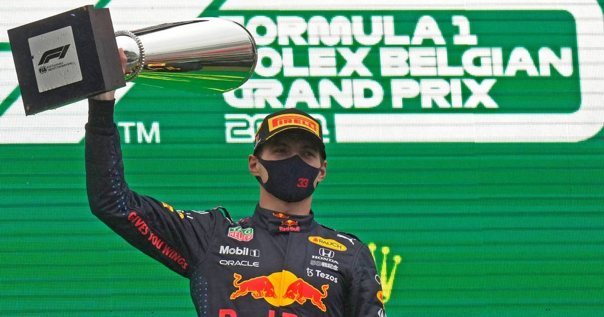 Max Verstappen with the trophy after winning the Belgian GP.. Spa-Francorchamps August 2021.