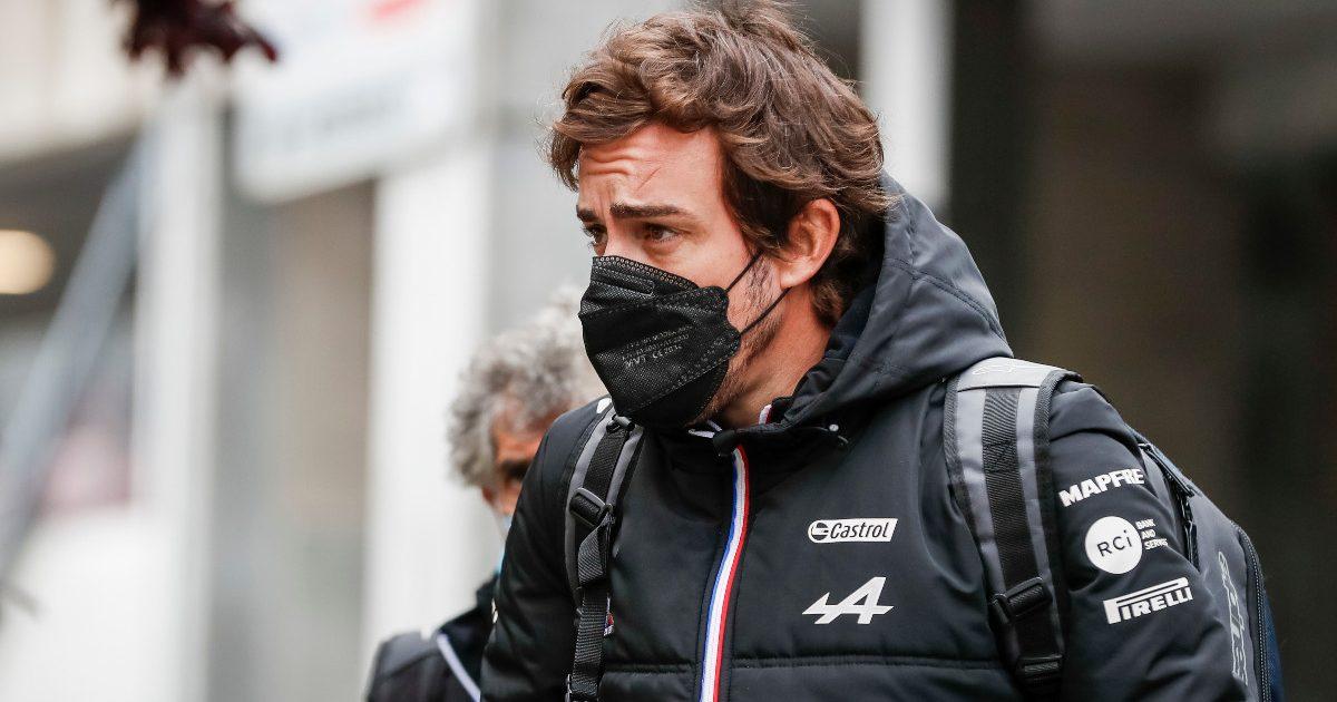 Fernando Alonso in the paddock in Belgium. August 2021.