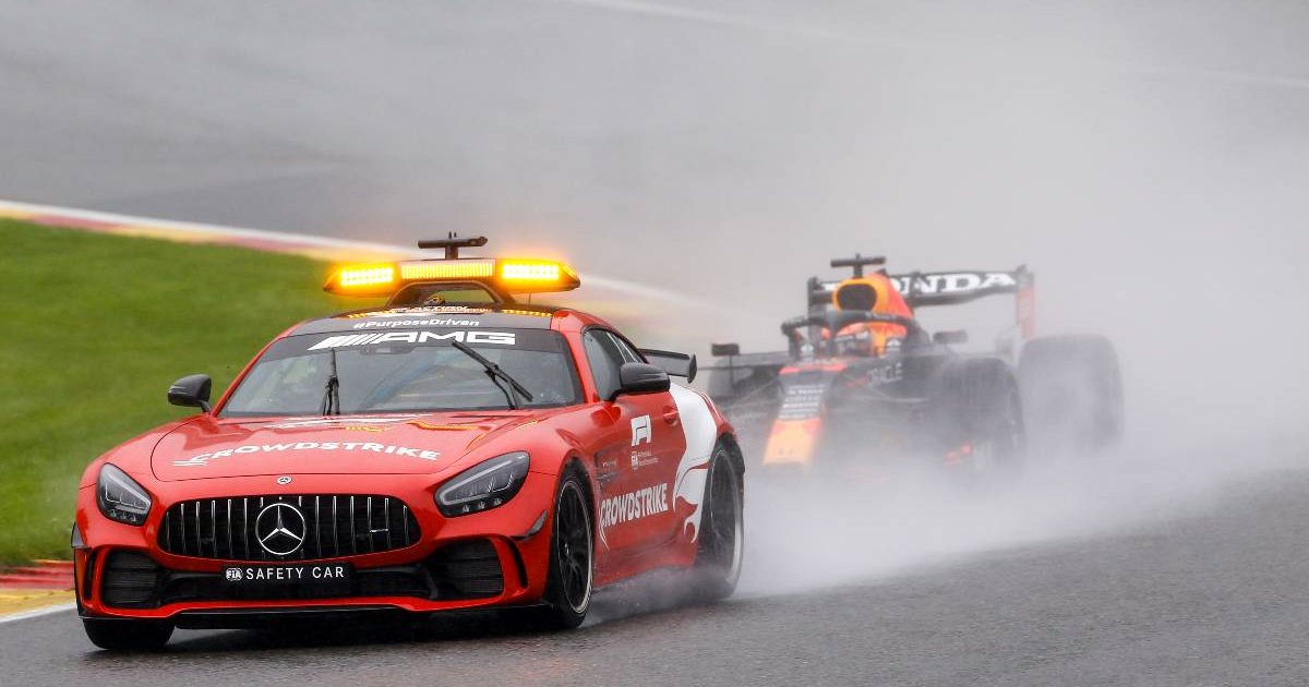 Max Verstappen leads the Belgian GP behind the Safety Car. August 2021.