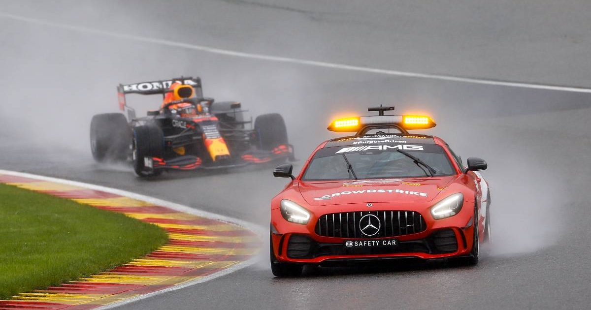 Max Verstappen's Red Bull behind the safety car in the Belgian GP. Spa-Francorchamps August 2021.