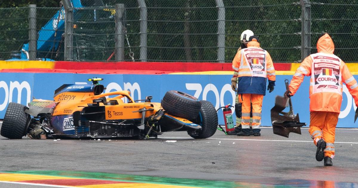 Lando Norris' crashed McLaren in qualifying for the Belgian GP. Spa-Francorchamps August 2021.