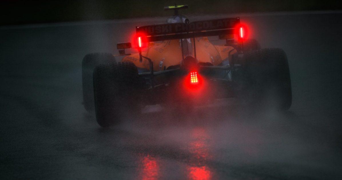 Lando Norris McLaren rain. Belgium August 2021