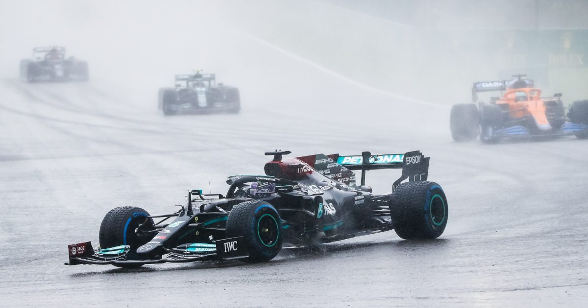 Lewis Hamilton in front of Daniel Ricciardo. Belgium August 2021
