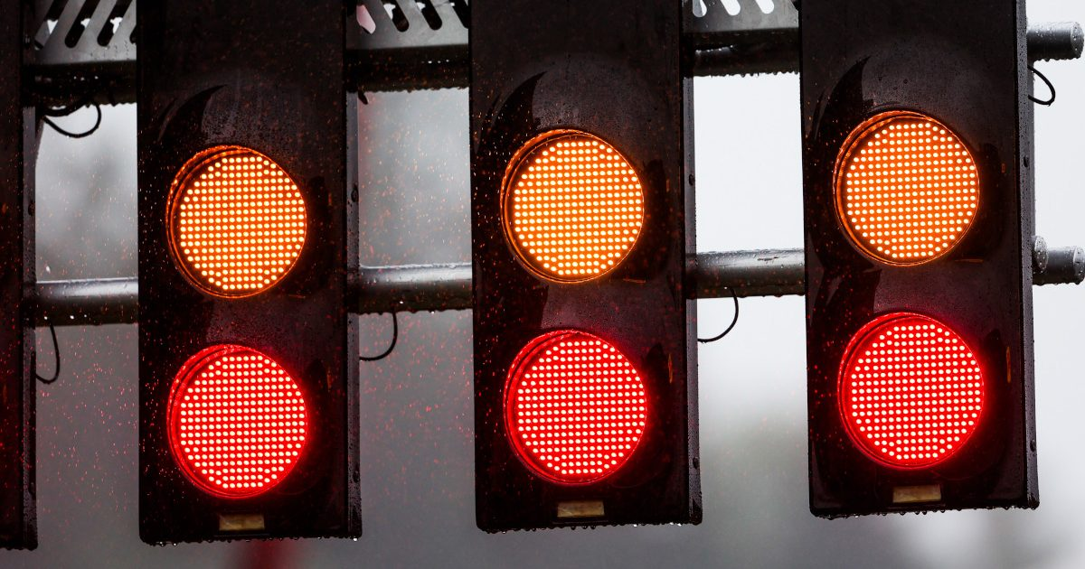 F1 red orange lights. Belgium August 2021
