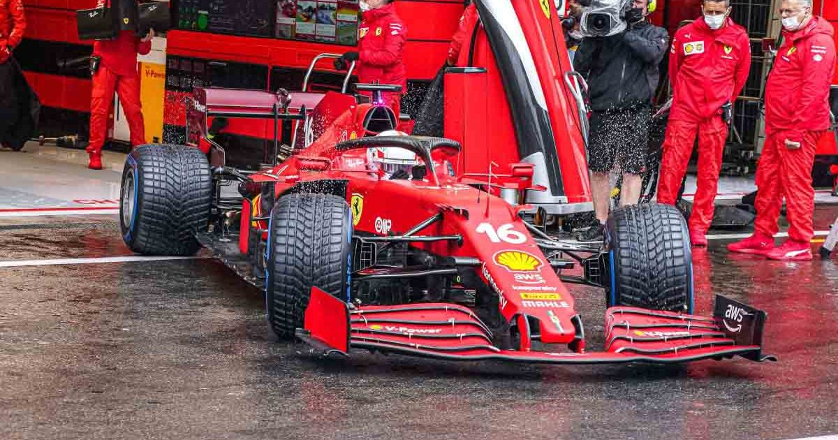 Charles Leclerc leaves his garage at a wet Spa.