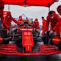 Carlos Sainz and his Ferrari crew prepare for a wet Belgian GP. August 2021.