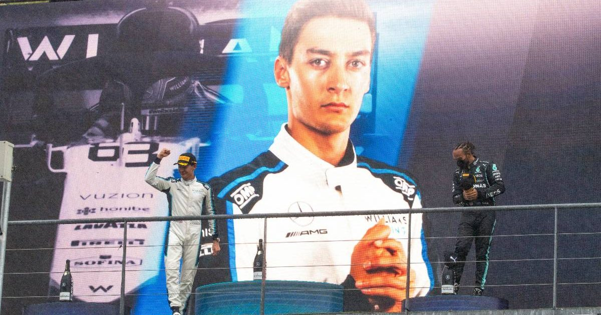 George Russell joins Lewis Hamilton on the podium in Belgium. August 2021.