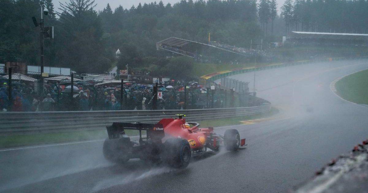 Carlos Sainz's Ferrari at Eau Rouge during the Belgian GP. Spa-Francorchamps August 2021.