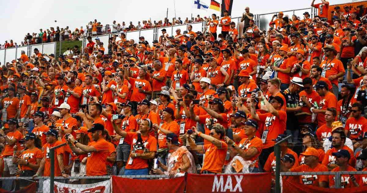 Max Verstappen fans cheering in Hungary.